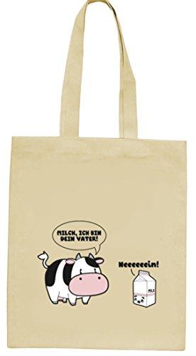 Lustiger natur Jutebeutel Stoffbeutel mit Milch - Ich bin Dein Vater Motiv von ShirtStreet Natur