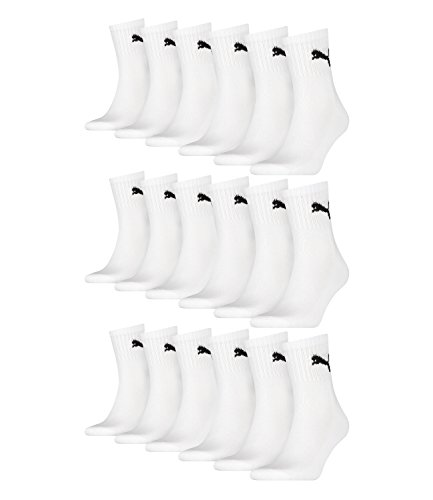 PUMA Unisex Short Crew Socks Socken Sportsocken MIT FROTTEESOHLE 12er Pack (White, 39-42)