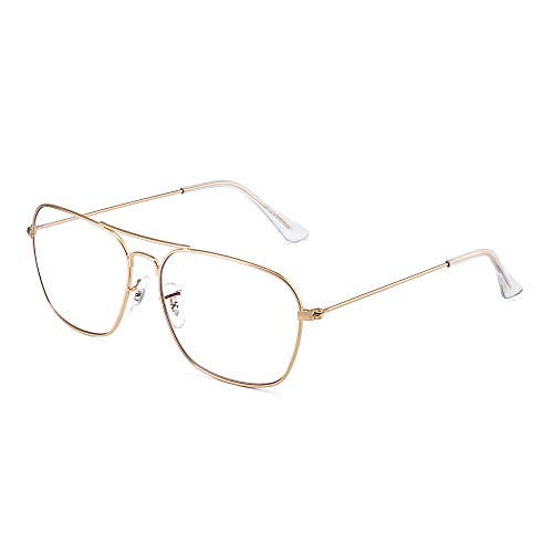 Flieger Blaues Licht blockiert Computer Brillen, Platz Augenschutz Video Eyeglasses Anti Blendung Damen Herren(Goldrahmen Klar Tempel Tipps)