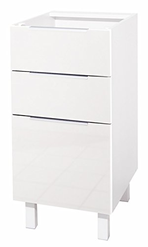 Berlenus Küchenunterschrank, mit 3 Schubladen, Hochglanz-Weiß, 40 x 52
