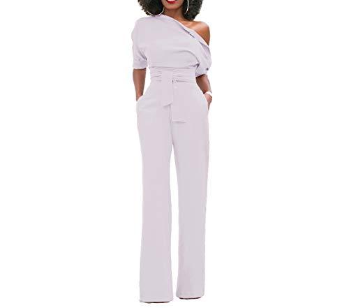 Femmes Combinaisons Soir¨¦e Longues a 1/2 Manches Sexy Chic Jumpsuit Rompers sans Bretelle Taille Haute Pantalons Cocktail Automne H