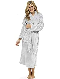 666d6e0c84 CityComfort® Luxury Dressing Gown Ladies Super Soft Robe With Fur Lined  Hood Plush Bathrobe For Women-Perfect…