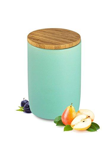 Vorratsdose mit Holzdeckel Keramik Türkis Vorratsbehälter Keramikdose Dose