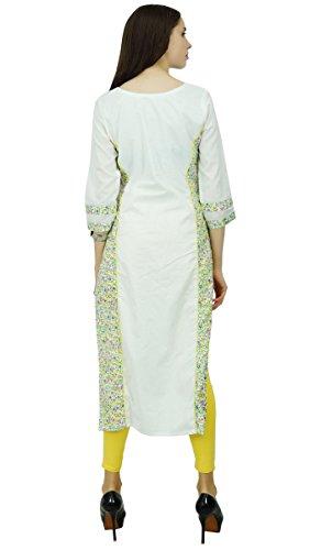 Phagun Baumwollblumen Bollywood Designer Kurta Ethnischen Top Tunika-Kleid Kurti Weiß und Gelb