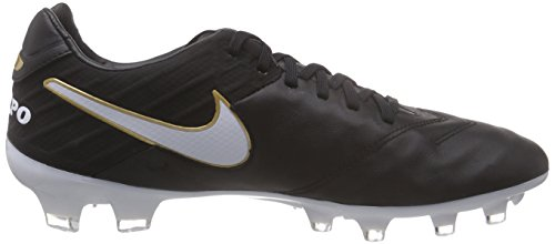 Nike Tiempo Legacy Ii Fg, Chaussures de Football Compétition Homme, UK Noir - Schwarz (Black/White-Metallic Gold 010)