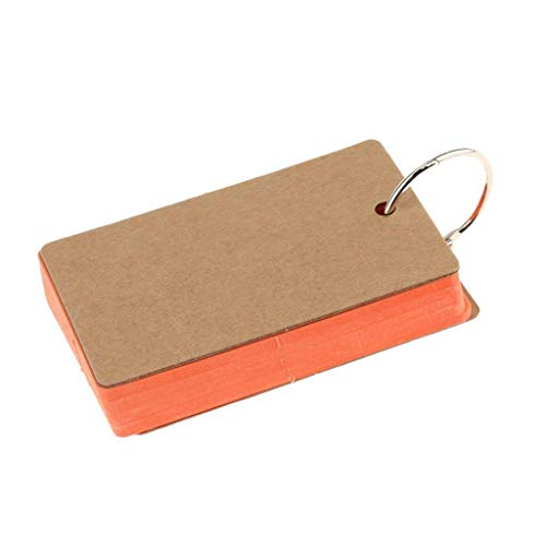 Vektenxi DIY Blank Kraftpapier Hinweis Papier Visitenkarten Wortschatz Wort Karte Nachricht Karte für Hochzeit Täglichen Gebrauch 1 STÜCKE Orange (Wortschatz Hinweis)