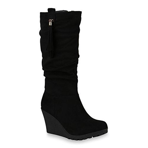 Damen Schuhe Keilstiefel Gefütterte Plateau Stiefel Wedges Quasten 146036 Schwarz 37 | Flandell® (Keil-stiefel)