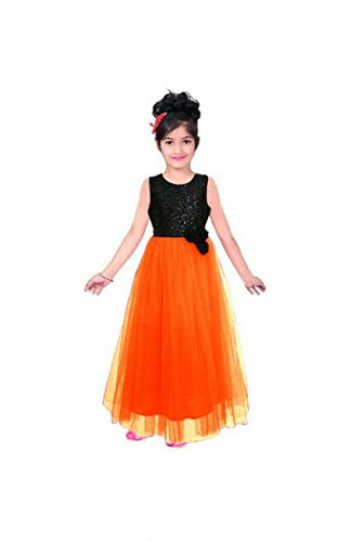 creativeswilla Orenge Color Soft Net Traditional Kids Wear Gowns for Girls Party...