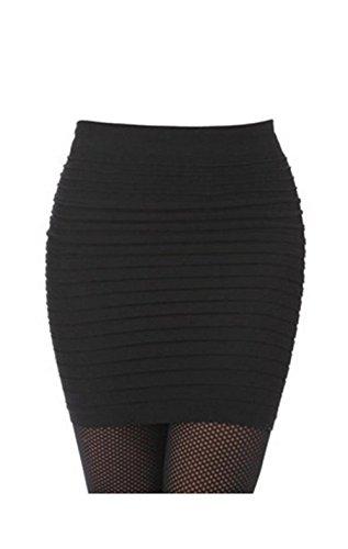 Lady OL Sexy Mini Skirt Striped Short Slimming Pencil Skirt 13 Colors (Black)