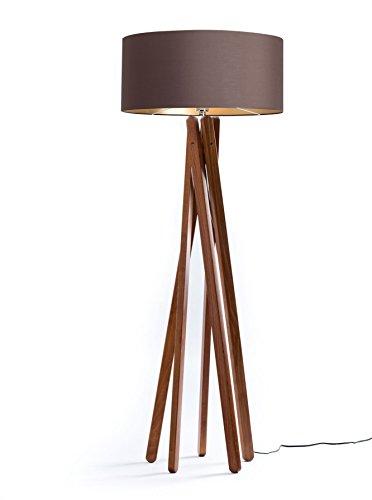 Hochwertige Design Stehlampe Tripod mit Textil Schirm aus Chintz in Braun Gold und Stativ/Gestell aus dunklem Holz Echtholz in Nussbaumfarben | H= 160cm | Stehleuchte | Handgefertigte Leuchte -