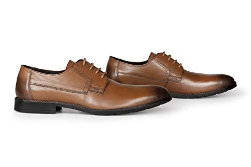 Vileano Mens Business Shoes Scarpe Derby In Pelle Scarpe Da Ginnastica, Realizzate In Pregiato Cuoio Cognac