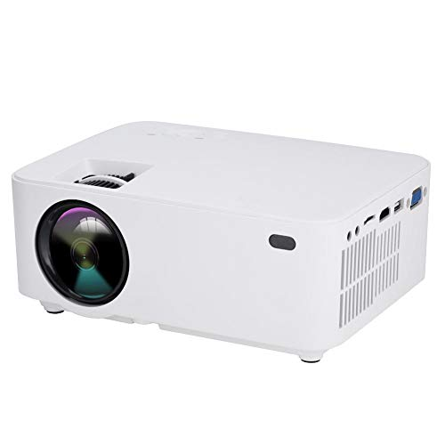 ASHATA Portable Projector Support 3D   1080P HD LED Projector With MultipleInterface HDMI VGA AV USB Micro SD Input 2800lm High Brightness Mini Home Theater Projector With Built-in Stereo Speakers White