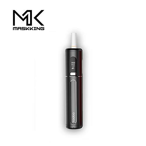 Kit de cigarette électronique MASKKING TODOO, compatible IQOS,HNB kit de cigarette électronique. Nouveau port de chargement USB ajouté. Batterie externe 18650.Aucune nicotine, aucun e-liquide (Noir)