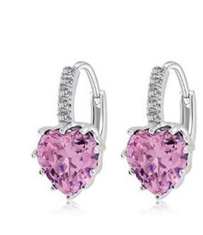 J*myi Koreanisch Mode Ohrringe Herzform Zirkon Ohrringe einfache Ohrringe (pink)