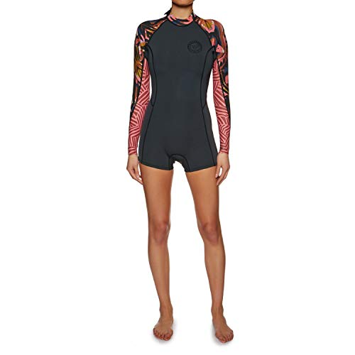BILLABONG Womens Spring Fever 2MM Langarm-Reißverschluss Springy Shorty Neoprenanzug Tribal - Leichtes Stretch-Thermo-Futter
