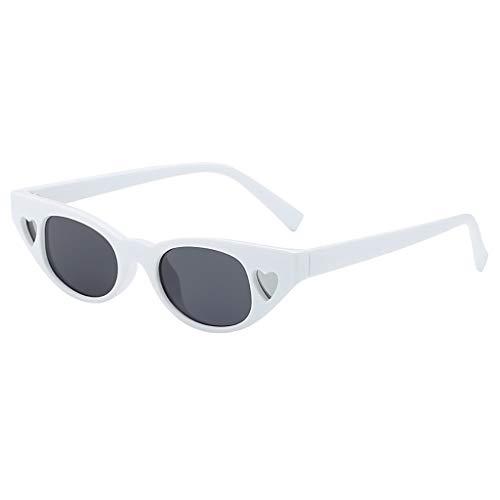 Modische Brillen Mode Frauen Kleinen Rahmen Herz Sonnenbrille Brille Nette Vintage Retro Style Match Strand Hut(A,free)