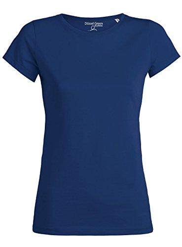 Amy Damen Basic T-Shirt Aus 100% Bio-Baumwolle mit Rundhalsausschnitt und taillierte Passform, Bio Kurzarmshirt, Organic Cotton (M, Royal Blau) (100% Bio-baumwolle Shirt)