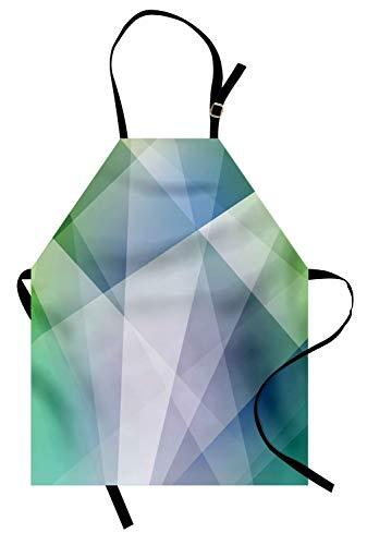 und Weiß Kochschürze, Abstrakte Dreiecke winkten Formen geometrisches zeitgenössisches futuristisches Design, Höhenverstellbar Maschienenwaschbar Kein verblassen, Mehrfarbig ()