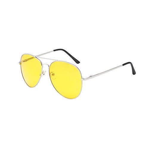 ASVP Shop Sonnenbrille im Pilotendesign, Unisex, im Retro-Stil der 80er Jahre, UV400, gelb