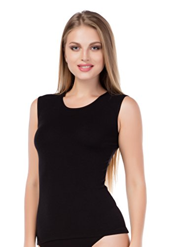 Ärmelloses Damen-Top Baumwoll-Modal Oberteil Shirt Achselshirt Weich Basictop stylenmore (M, schwarz) (Modal-Ärmellos)