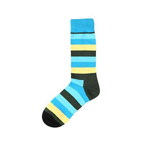Trada Socken, Neue Mode Mann Streifen Print Farbe Block Cotton Sock Bunte Casual Socke Antirutschsohle Sportsocken Lustige Socken Vintage Stil Warme Atmungsaktiv Crew für Herbst & Winter (B)