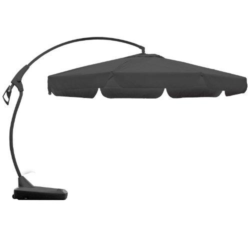 floristikvergleich.de Ampelschirm Sonnenschirm Gartenschirm Kurbelschirm + Ständer Ø3,5m Sonnenschutz – Grau