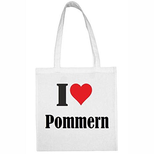 Tasche I Love Pommern Größe 38x42 Farbe Weiss Druck Schwarz -