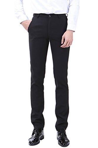 INFLATION Klassisch Herren Slim Fit Schnitt Anzughose Men's casual pants Business Hose Reine Farbe Anzugsuit Hose Smoking Hose: DE Größe 28 - Etikette 31, Schwarz
