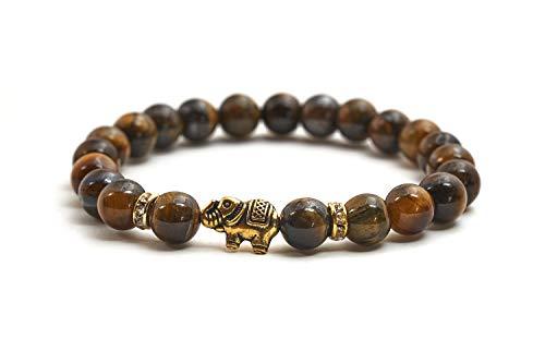 Elefanten Armband mit Tigerauge Perlen - Yoga Armband und Glücksbringer aus Naturstein