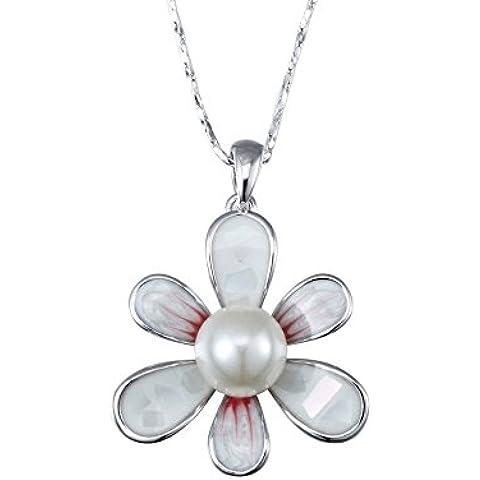 Ciondolo Fiore Bianco Perla e placcato rodio - Blue Pearls - CRY E753 J