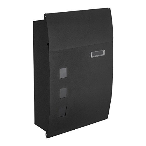Mari home cassetta postale a muro a4 | cassetta design curvo, acciaio, per esterno | cassetta postale con serratura e 2 chiavi | dim. 44 x 32 x 10 cm | etichetta indirizzo & fessura frontale | nero
