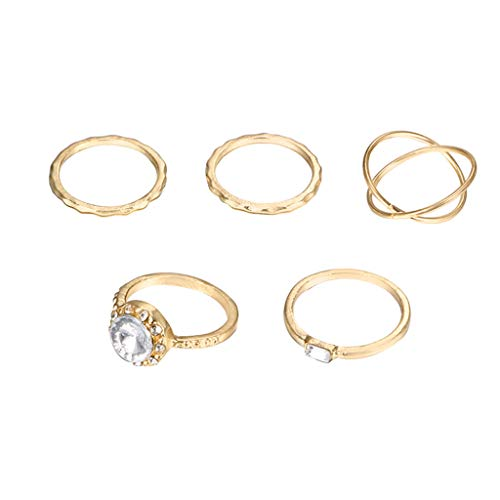 ZYUEER Damenmode Diamond Geometric Cross Kombination Ring Set Von Fünf Schmuck