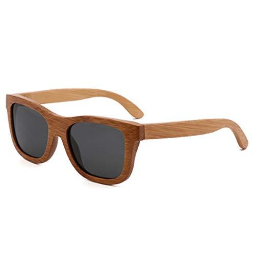 YJLYQ Holz Herren Und Damen Sonnenbrillen, Unisex Retro Holzoptik Brille UV-beständig Polarisiertes Licht Bambus Sonnenbrille UV400 (Color : E)