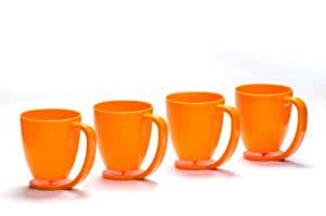 Cutting Edge Floating Cup Set with Inbuilt Coaster, 350ml, Set of 4, Candy Orange