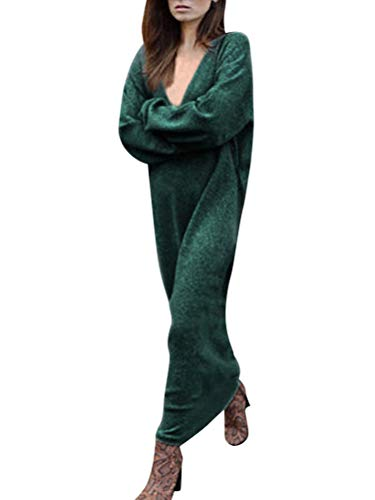 Minetom Femme Robe Col V Manches Longues Lâche Pullover Maxi Robe Élégant Solide Chemises Pull Chic Oversized Jumper Tricots Chandail Tops Vert FR 42