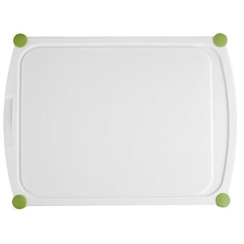 Emsa PERFECT CUT Planche à découper, en plastique, 40x29cm blanc/vert