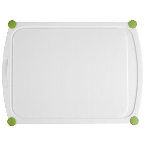 Emsa 514454 Schneidebrett (Saftrille, Kunststoff, 40 x 29 cm, Perfect Cut) weiß/grün