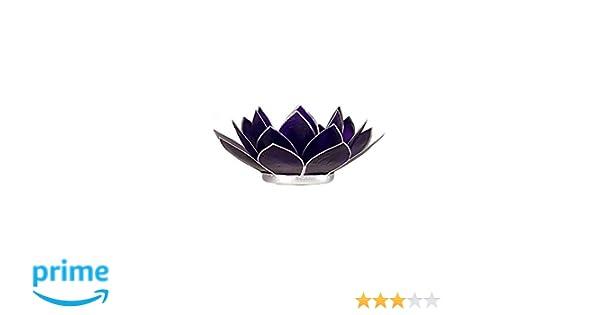 Somethingdifferent Lotus Chakra pour Bougie Capiz Coque Violet Bordure argent/ée