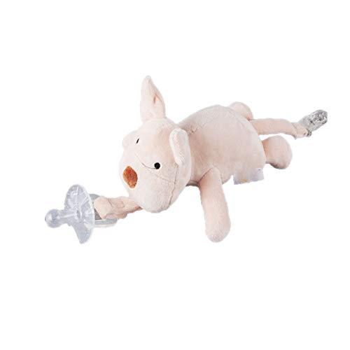 Romote 1PC Baby-Schwein Schnuller Halter Abnehmbar Pacifier Weiches Plüsch Stofftier Spielzeug Mit Endstück-Klipp Für Kleinkinder Silikon Schnuller - Schwein-schnuller
