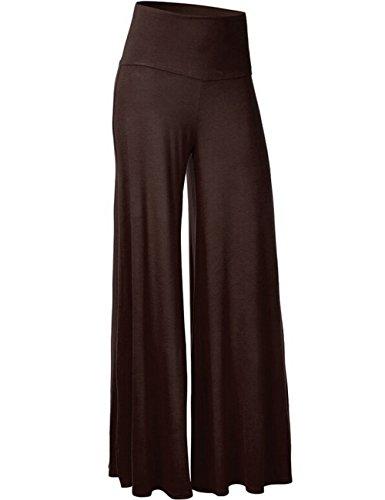 Looseplus Damen Klassisch einfarbrig hohe Taille weite Palazzo Lounge Hose(BR,L)