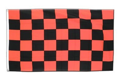 Kariert Schwarz-Rot Flagge, schwarz-rote Fahne 90 x 150 cm, MaxFlags®