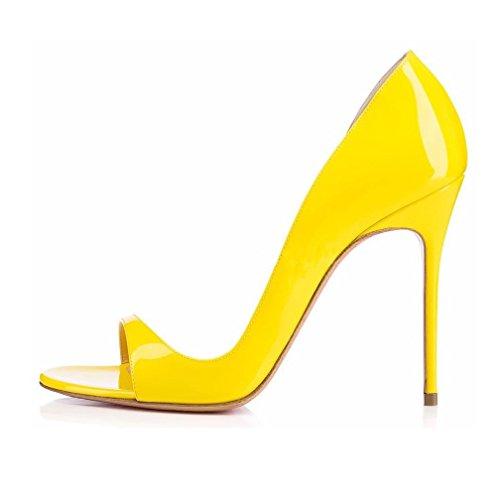 EDEFS- Escarpins Femme - Chaussures à talons aiguilles - Sexy Bout Ouvert - Cuir Brillant Synthétique - Plusieurs coloris Jaune