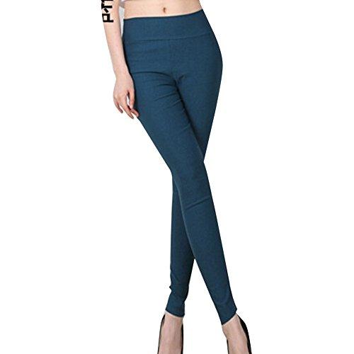 hibote Slip Leggings Pantalon à crayon Un jean bleu