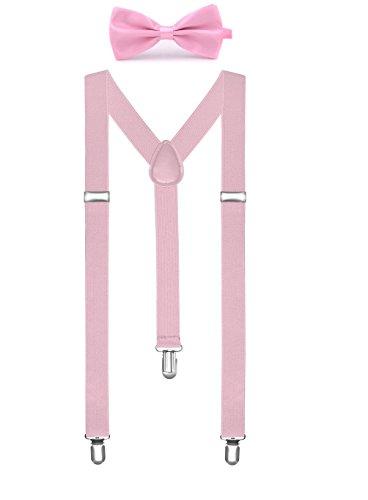 BOOLAVARD Volltonfarbe Herren Hosenträger Fliege Set Clip in Y-Form verstellbare Hosenträger (Clip-fliege Hosenträger Und)