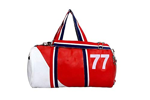 ANEMOI Sports Duffle Gym Leather Bag (Red White)