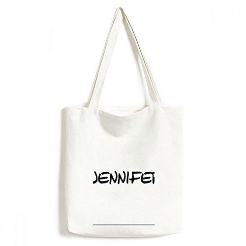 DIYthinker Spezielle Handschrift Englischer Name Jennifer Environmentally Waschbar Einkaufs-Tasche Fertigkeit-Geschenk 33 * 40cm Mehrfarbig 6