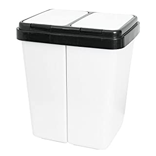 Grizzly Double Waste Recycling Bin Light Grey with Push-top Lids for Office - Home - 2x25 L Twin Compartments
