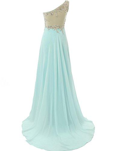 JAEDEN Damen One-Shoulder Ballkleider Lang Chiffon Abendkleid Brautjungfernkleid Partykleid Königsblau