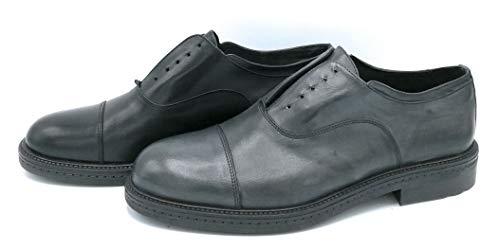 Exton 4084 scarpa allacciata in pelle grigio scuro nero con elastico - taglia scarpa 42 colore nero