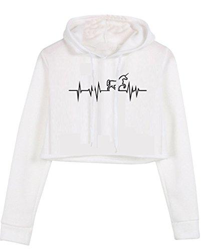 HappyGo Signore Moda Pullovers Crop Felpe Manica Lunga Donna Hoodies Bianco